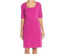 Tahari Women's Square Neck Crepe A-Line Dress, Purple