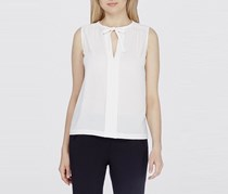 Tahari Women's Split Tie Neck Blouse, White