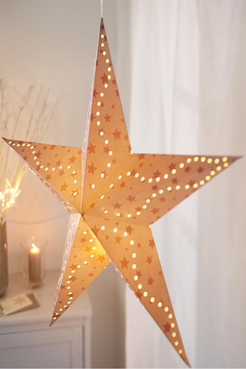 LED Paper Star, Cream/Red