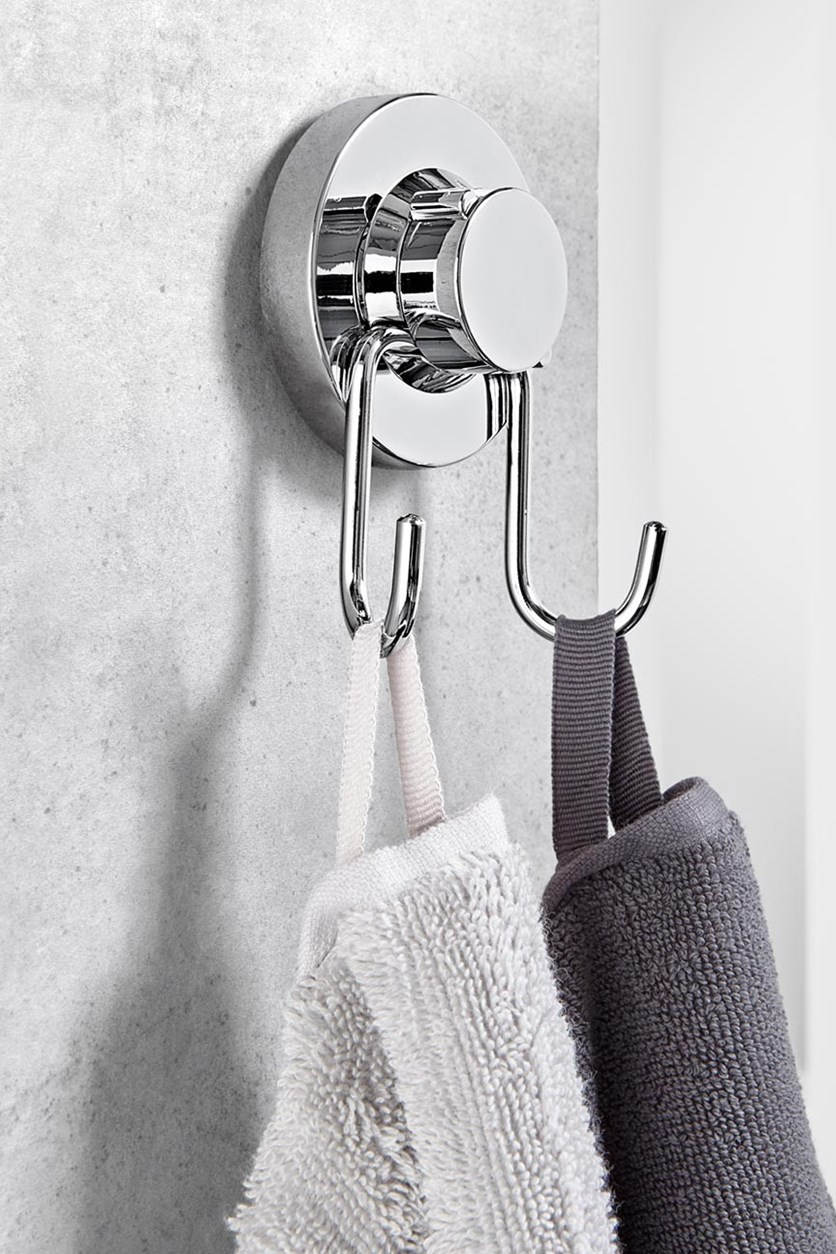 Suction Cup Double Hook, Silver