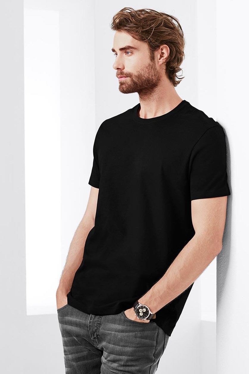Men's 2-Pack Round Neck T-shirts, Black