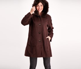 Ellen Tracy Women's Fur-Trim Hooded Walker Coat, Coffee