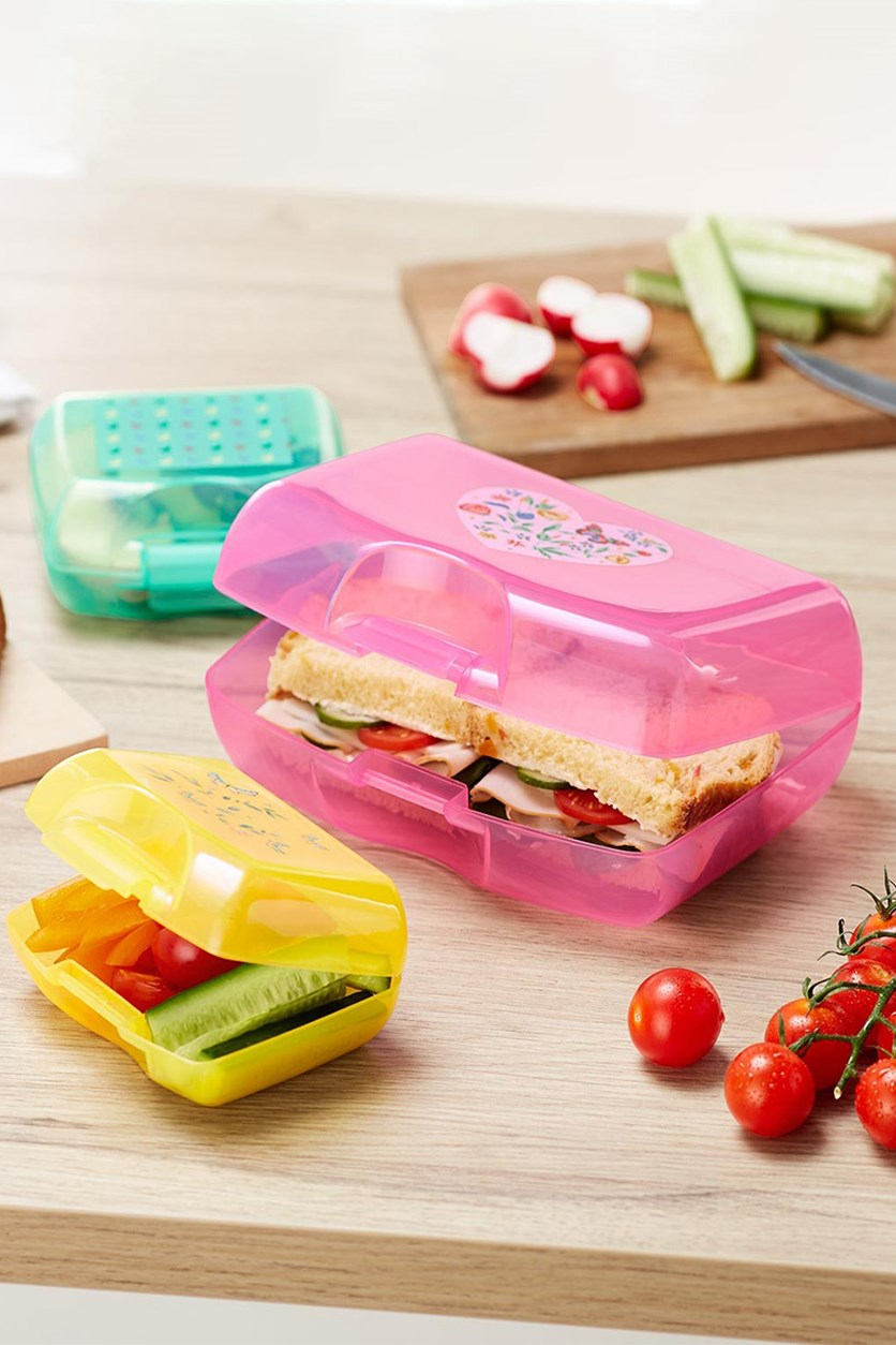Sandwiches Lunch Box Set of 3, Pink/Yellow/Mint