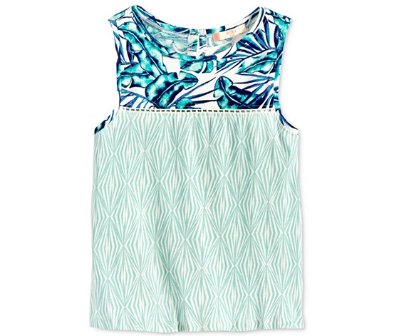 Roxy Kids Girl's Crave Chances Tank Top, Jade/White/Blue