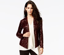 Rachel Rachel Roy Long-Sleeve Sequin Blazer, Maroon