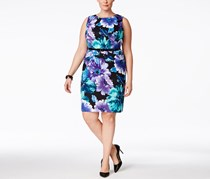 Connected Plus Size Sleeveless Belted Sheath Dress, Floral