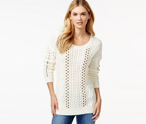 Bar III Embellished Cable-Knit Sweater, Arctic White