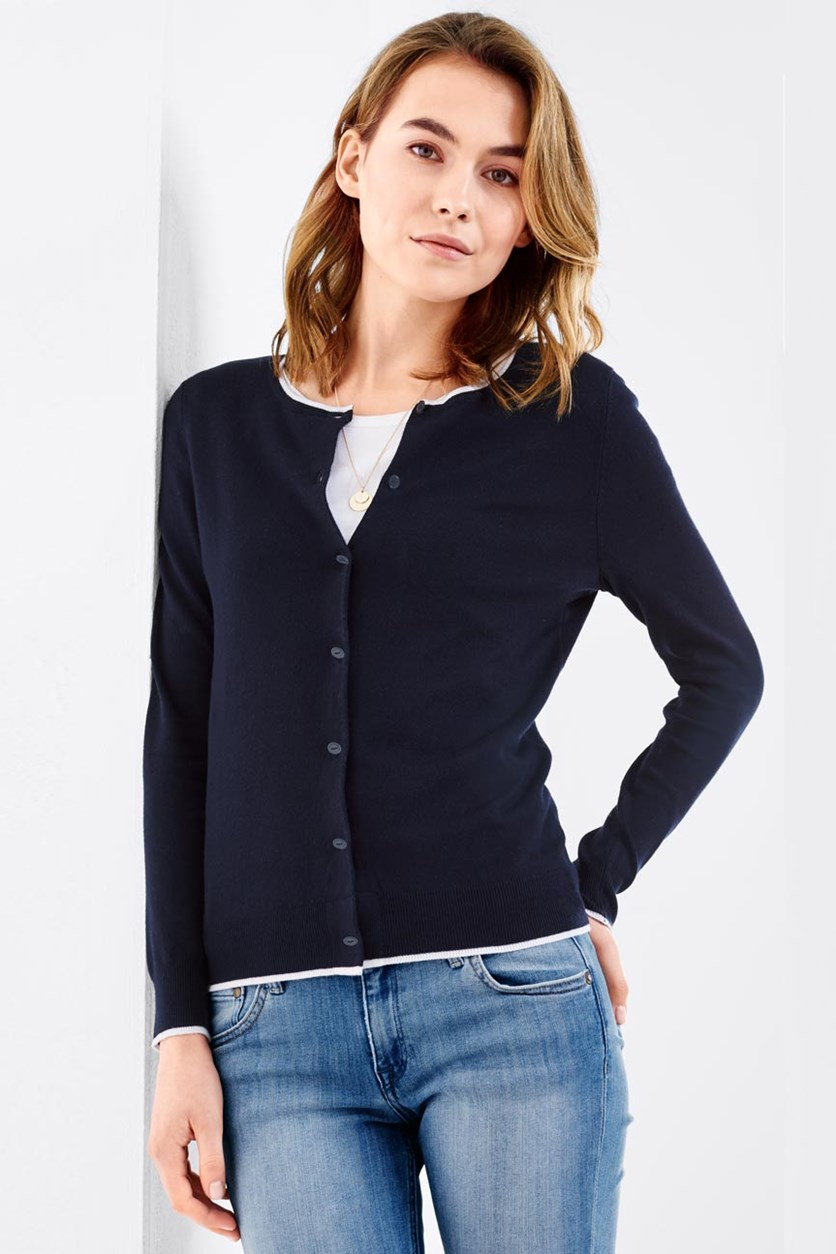 Women's Fineknit Cardigan, Blue