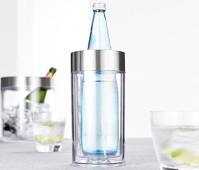 Bottle Cooler, Transparent/Silver Colored
