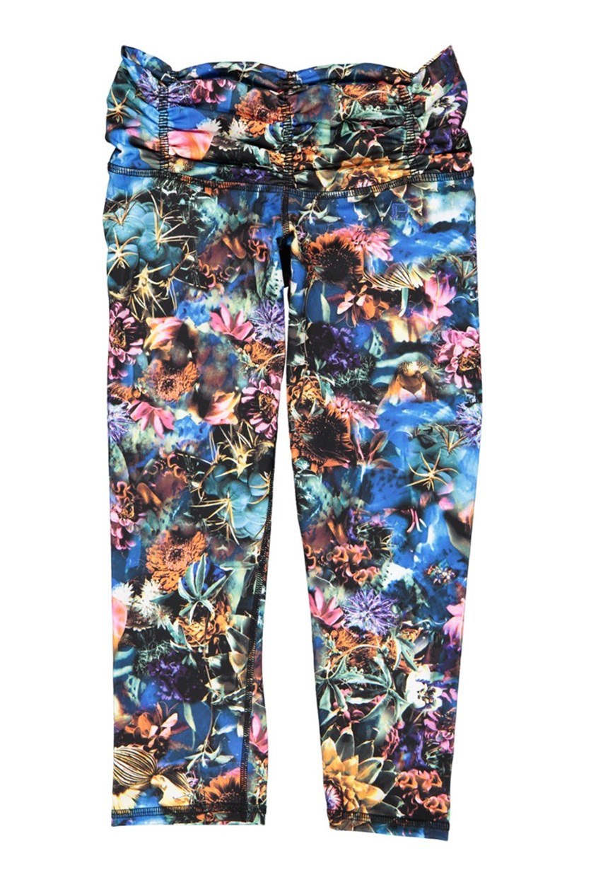 Women's Scrunchy Capri Leggings, Midnight Blossom