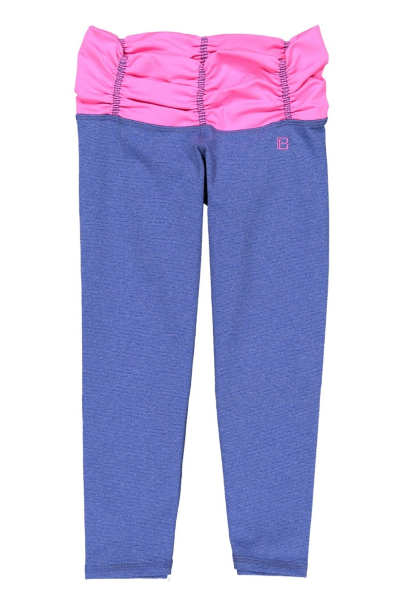 Scrunchy Capri Leggings, Royal/Pink