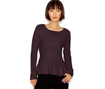 Bar Iii Long-Sleeve Peplum Sweater, Dark Purple