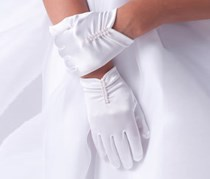 Us Angels Short Ruched Gloves, White