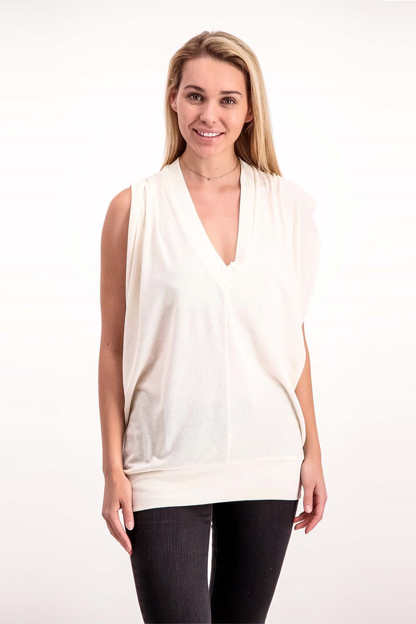 Women's	Cut Out Knit Top, Vanilla Ice