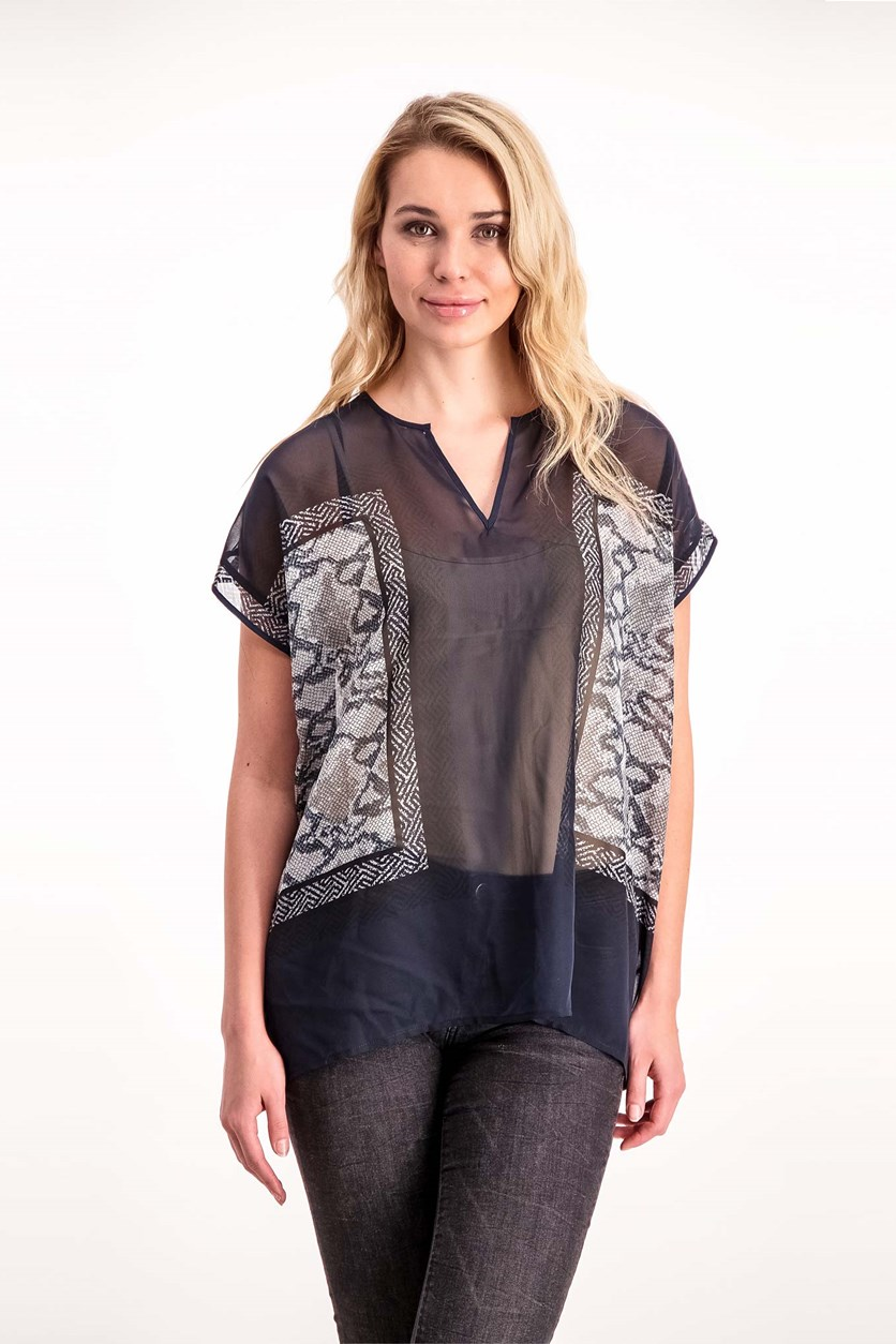 Women's Short Sleeve Graphic Top, Snake Print
