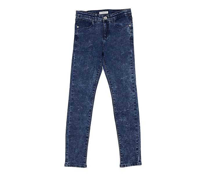 Kids Girls Five Pockets Jeans, Blue