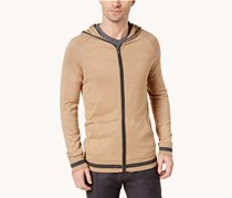 Ryan Seacrest Distinction Men's Modern-Fit Sweater Hoodie, Camel/Charcaol