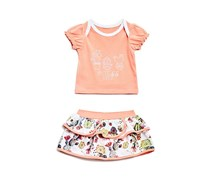 Guess Baby Girls' Set-Short Sleeve T-Shirt and Diaper Cover, Peach Combo