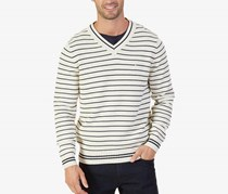 Nautica Mens Striped Sweater, Bone White