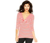 Guess Three-Quarter-Sleeve Ruched Striped Top, Amy Pink