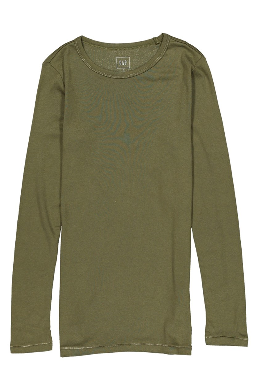 Women Long Sleeve Crew Neck Top, Olive