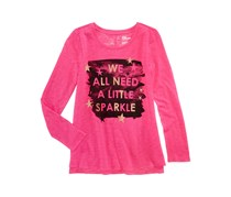 Epic Threads Big Girls Glitter Graphic Long-Sleeve T-Shirt, Pink