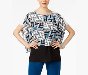 Alfani Petite Printed Colorblocked Top, Black Combo
