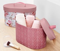 Storage Boxes Set of 2, Pink/Floral