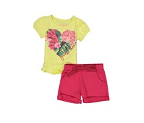 Guess Little Girls' Tee And Short Set, Yellow/Fuchsia