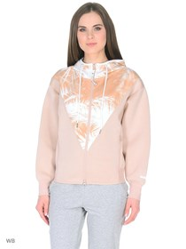 Adidas Women Studio Palm Hoodie, Nude Rose/White