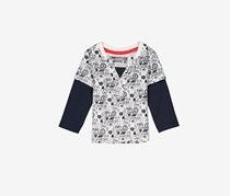 Guess Little Boys' Printed T-Shirt, White/Navy