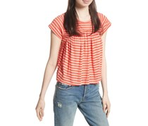 Free People Womens JoJo Striped Casual Pullover Top, Coral