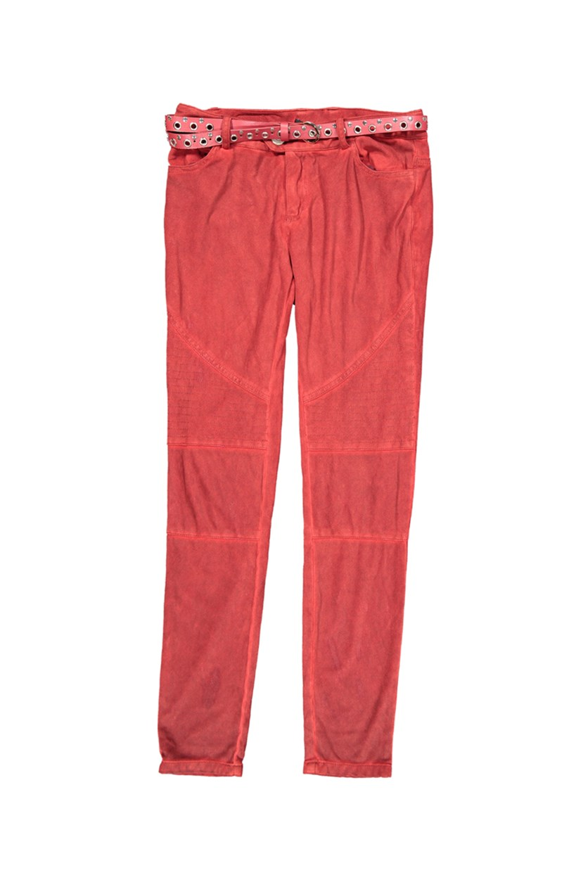 Womens Belted Trousers Dye Wash, Red