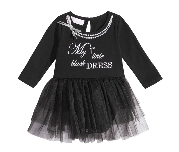 Girls Little Bodysuit Dress, Black