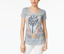 Women Sequined Palm Tree Graphic Tee, Grey