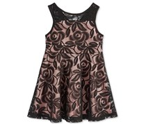 Marmellata Girl's Illusion Lace Party Dress, Black/Blush