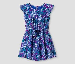 Cat & Jack Girl's Front Flounce Floral Dress, Blue Iris