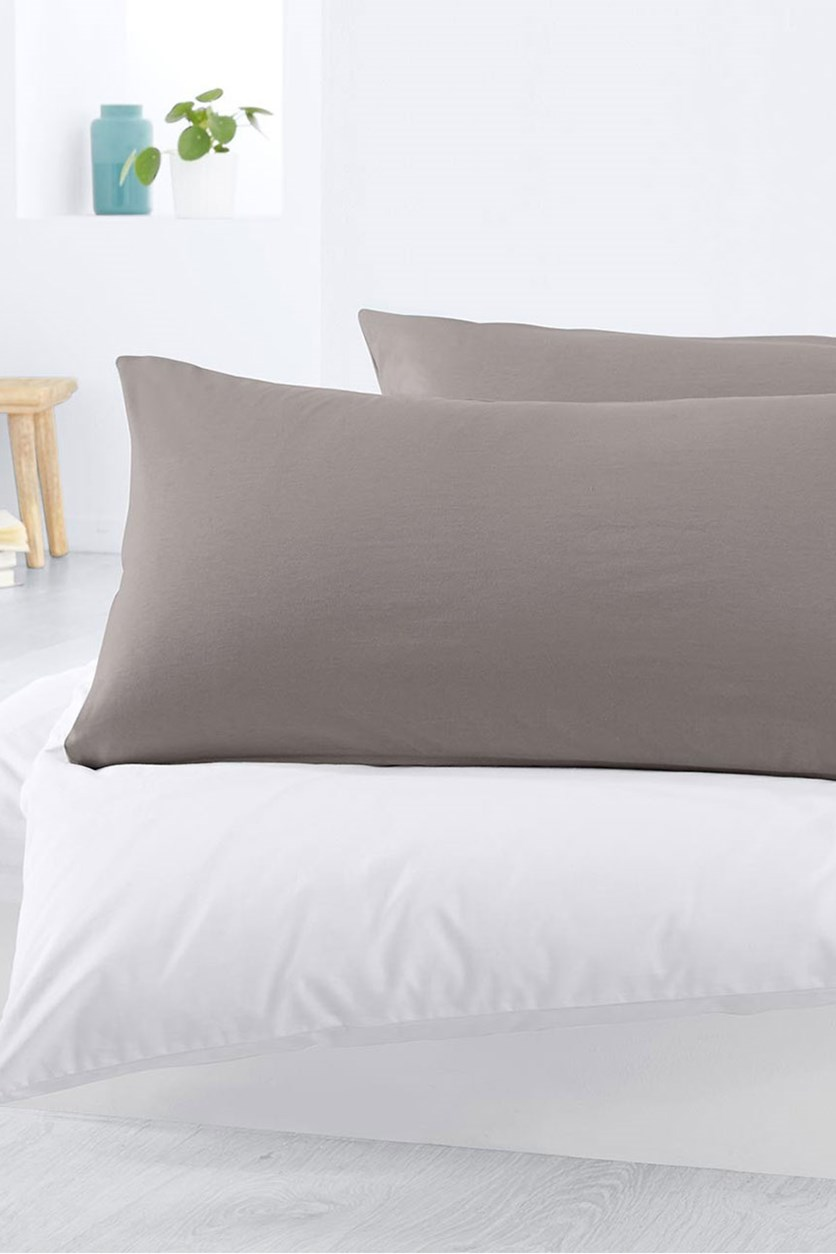 Jersey Pillowcase Set of 2, 80 x 40 cm, Grey