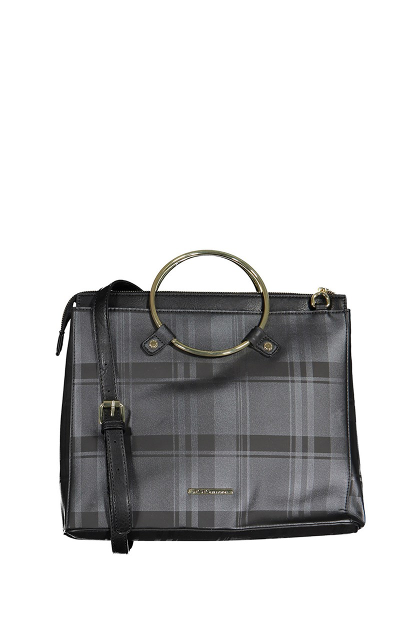 eneration Cassia Tote Bag, Black/Grey Plaid