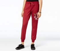 Juniors Embroidered Jogger Pants, Cabernet