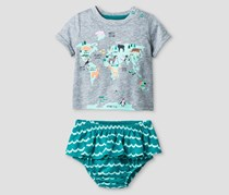 Cat & Jack Baby Girl's World Map T-Shirt and Bloomer Set, Green/Grey