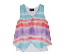 AMY BYER Girl Tie-Dye Tank Top with Necklace, Coral/Purple/Aqua