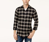 American Rag Cie Men's Plaid Flannel Shirt, Deep Black