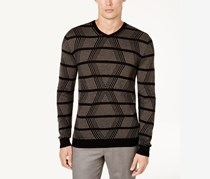 Men's Geo Cashmere Blend Long Sleeves Sweater, Deep Black