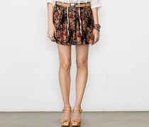 Ralph Lauren Denim & Supply Women's Floral Print Mini Skirt, Black/Tan