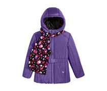 S. Rothschild Belted Puffer Jacket with Dot-Print Scarf, Purple