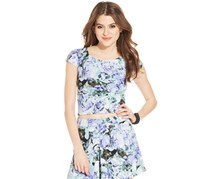 Jessica Simpson Women's Floral Print Crop Top, Purple
