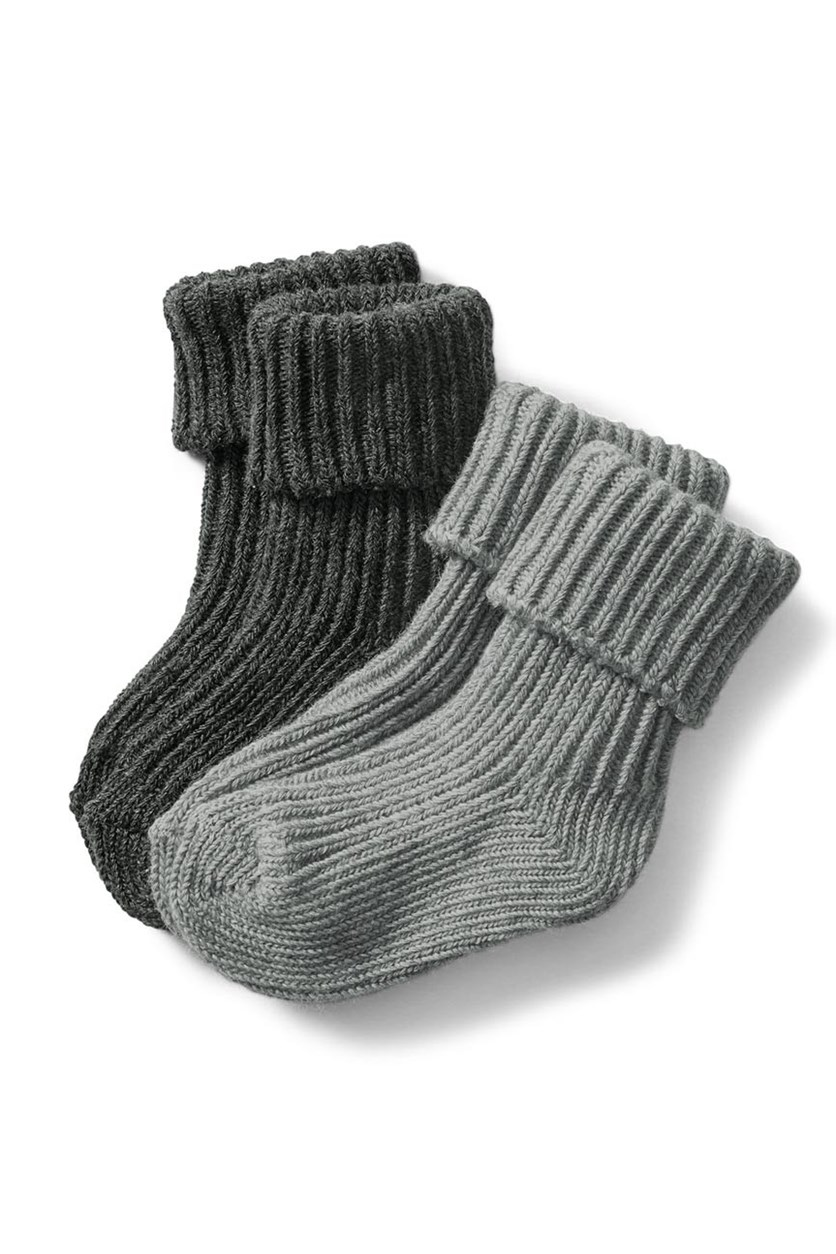 Toddler Socks Set of 2, Dark Grey/Light Grey