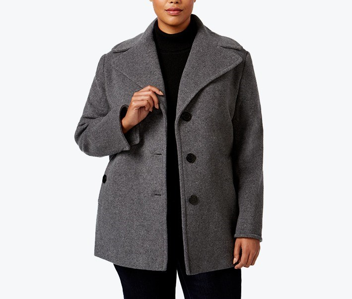 Plus Size Single-Breasted Peacoat, Light Gray