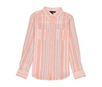 Women Long Sleeve Printed Stripe Woven Top, Fusion Coral